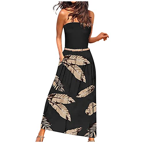 QSSS Bandeau Maxikleid Draped Sommerkleider mit Taschen beiläufige Lang Elegant Langem Rock Reine Farbe Strandkleider Sexy Urlaubsstil Lang Kleid Bequem Frauen Röcke