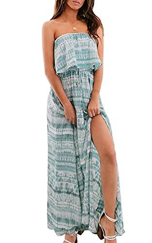 Annebouti Womens Strapless Beach Maxi Dress Summer Split Boho Floral Sundress