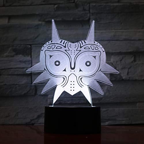 Lampara LED Videojuego The Legend of Zelda Majora's Mask Cambia Color USB Luz nocturna y decoración