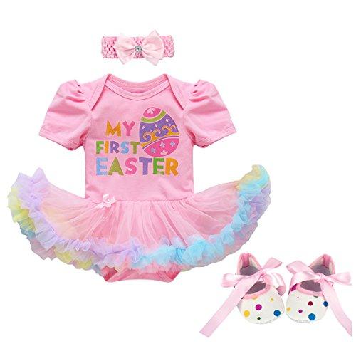Disfraz de bebé con estampado de huevo de conejito de manga corta + diadema + zapatos de princesa, traje tutú