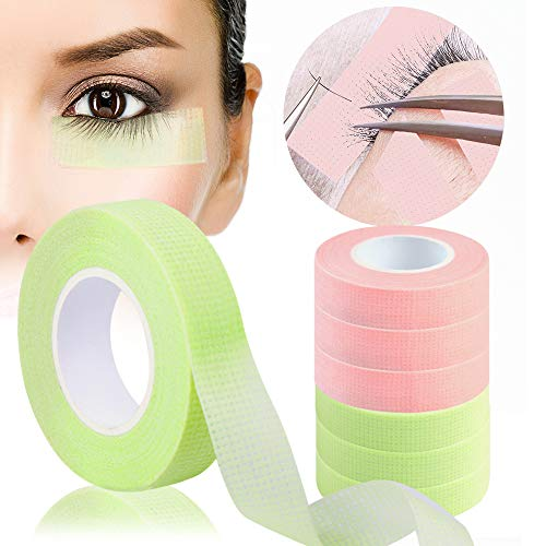 6 Rolls Eyelash Tape, LORVAIN Green Pink Lash Tape for Eyelash Extension, Adhesive Breathable Micropore Fabric Tape (1/2
