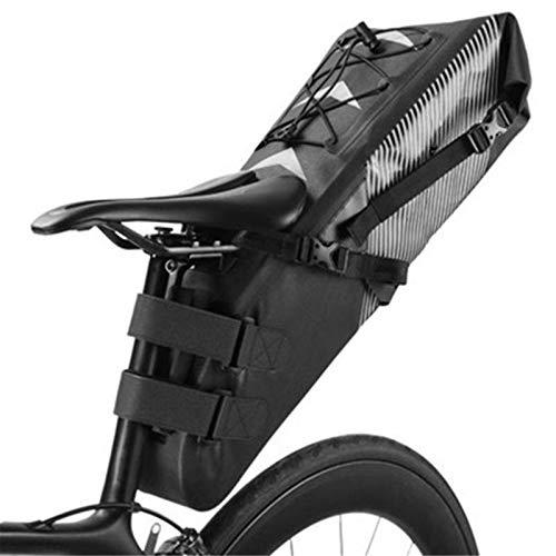 PQXOER Bolsa de sillín de bicicleta impermeable para bicicleta, bolsa de sillín de bicicleta reflector, plegable, bolsa trasera para bicicleta MTB mochila de ciclismo (tamaño: tamaño libre; color: 01)