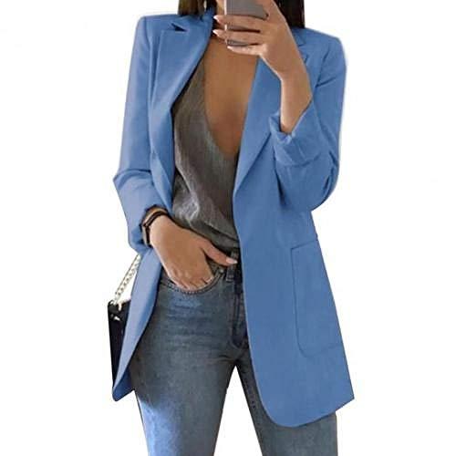 N\P Chaqueta de mujer Blazer fina con hombros de algodón azul S