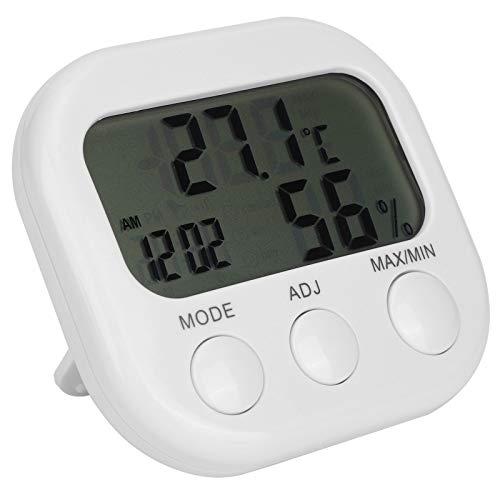 SALUTUYA Termómetro multifunción Reloj Despertador Termómetro de habitación Termo-higrómetro Colocable Higrómetro Digital, para Invernadero Hogar Blanco