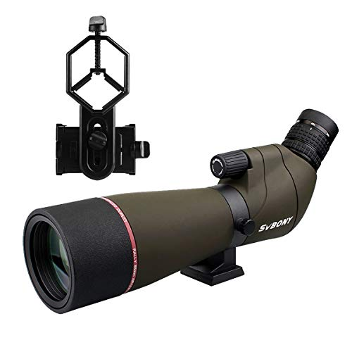SVBONY SV13 Spotting Scope with Phone Adapter,20-60x65,High Power,Spotting Scope Telescope,Waterproof,Angled,Bak4,Long Range,Spotter Scope,for Bird Watching,Hunting,Travel,Backpacking,Astronomy