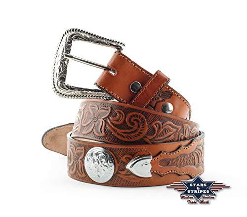 STARS & STRIPES - Cinturón unisex de cuero marrón hecho a mano, con hebilla intercambiable, grabados y apliques metálicos. WG51