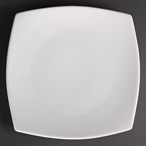 Assiettes carrées bords arrondis blanches 305mm Olympia 30.5cm. 6 pièces.