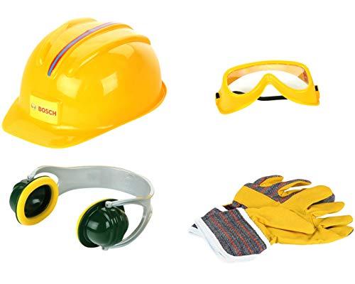 Theo Klein 8537 Set de accesorios Bosch, Guantes de trabajo, gafas de seguridad, orejeras y casco de gran calidad, Con diseño de Bosch, Medidas del embalaje: 30 cm x 38 cm 10 cm,