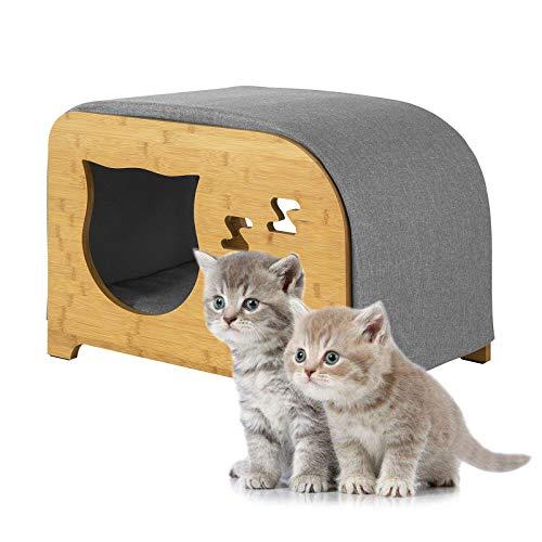 SoBuy FSR72-N Sitzhocker mit Katzenhaus Katzenhöhle Katze Möbel Katzenbett Katzenkorb Heimtierbett Fußstütze Bambus BHT ca.: 58x40x40cm