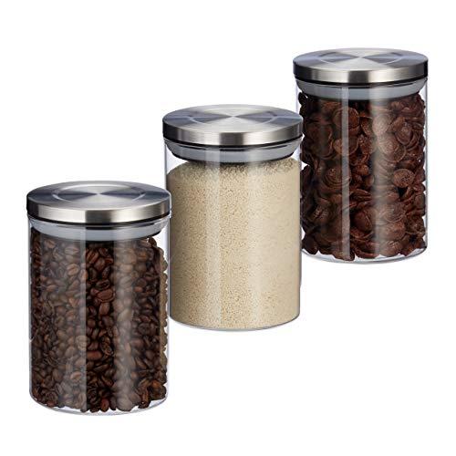 Relaxdays 10027997 Vorratsglas 3er Set, je 600ml, luftdicht, Edelstahl Deckel, für Müsli, Reis & Tee, Küchenbehälter, transparent, Glas