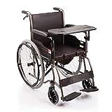 HXD Self-propelled Wheelchair, Manuelle Rollstuhlsimulation Ledersitzkissen, Multifunktionsrollstuhl, Klapprollstuhl for ältere Menschen mit Behinderung im Freien