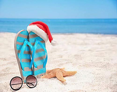 Aofire Christmas Beach Diamond Painting Kits for Adults Kids, Santa Hat with Sea Star Flip Flops and Sunglasses on Holidays Painting by Number Diamond Dotz 5D Crystal Gem Arts Wall Decor 12x16 Inch