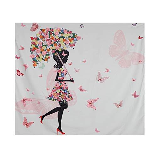 Tapiz de flores multicolor, diseño vintage de mariposas, paisaje natural, para colgar en la pared, decoración de dormitorio, salón, dormitorio