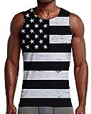 NEWISTAR Men 3D Pattern Flag Tank Top Black&White Vest Sleeveless T-Shirts for GYN Running