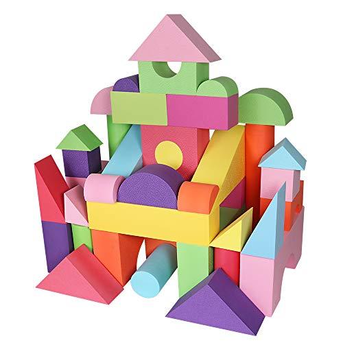 HAPPYMATY 48-teilig Bausteinset riesige Bausteine aus Schaumstoff weiche Bauklötze Eva Bausteine große Bauelemente Lernspielzeug waschbar