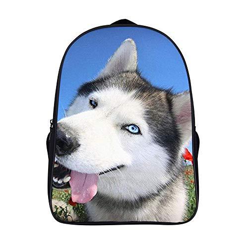 XIAHAILE Unisex Backpack Mochila Tipo Casual para Senderismo Acampada, Montañismo, trabajar más-Happy Husky Dog Puppy