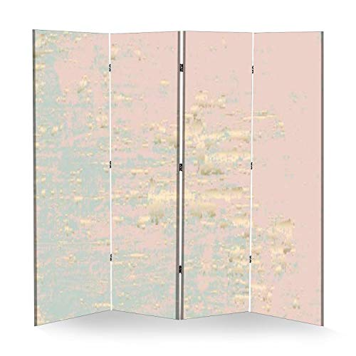 Abstract Grunge Pattina Effect Stock Illustration 4 Panel Wall Divider Folding Canvas Privacy Partition Screen Room Divider Sound Proof Separator Freestanding Protective Divider