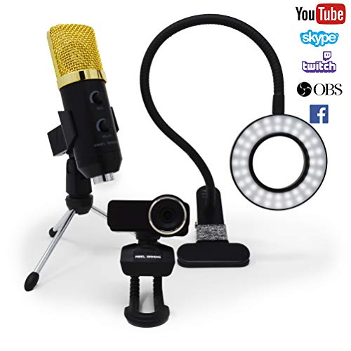 Twitch Streaming équipement kit, Streaming Camera avec 1080p Webcam HD, Streaming, Micro USB et LED Video Light