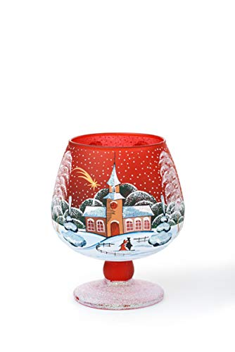 AROMA HOME STUDIO ART PAINTING Weihnachts Windlicht Teelichthalter, Winter-Design Make a Wish, Weinglas (rot, klein)