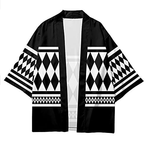 Anime Tokyo Revengers Kimono Ken Ryuguji Cosplay Costumes Short Sleeve Cardigan Shirt Haori (Black, Medium)