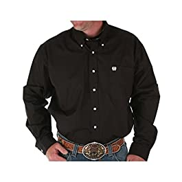 Cinch mensMTW110SClassic Fit Long Sleeve Button One Open Pocket Solid Basic Solid Button-Down Collar Long Sleeves Button-Down Shirt