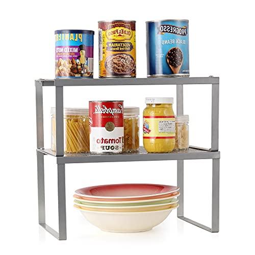 Nandae Set di 2 Organizer Cucina Salvaspazio Scaffale Impilabile Espandibile-Argento-A