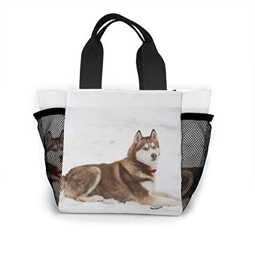 Lunch-Tasche für Damen, Handtasche, Lunch-Tasche für Arbeit, Picknick oder Reisen – Husky Portrait