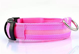 Liroyal Nylon LED Dog Night Safety Collar Flashing Light up W/circular Pendant Collar Pink by Liroyal