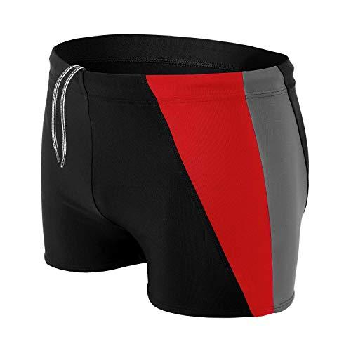 Aquarti Bañador Deportivo para Hombre Tipo Boxer, Negro/Grafito/Rojo, L