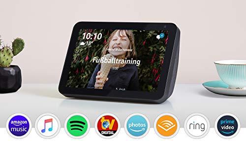 Echo Show 8, Zertifiziert und generalüberholt, Anthrazit Stoff – Smart Display mit 8 Zoll großem HD-Bildschirm und Alexa