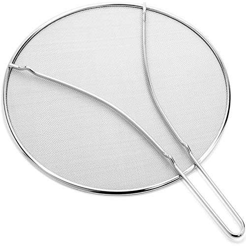 "Silchef Splatter Screen for Frying Pan 13"" - Stops 99% of Hot Oil Splash – Rust Proof Stainless Steel Grease Splatter Guard with Resting Feet"