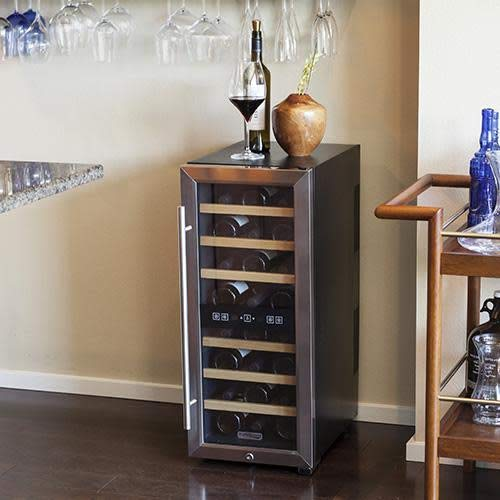 Koldfront TWR247ESS 24 Bottle Free Standing Dual Zone Wine Cooler - Black and Stainless Steel