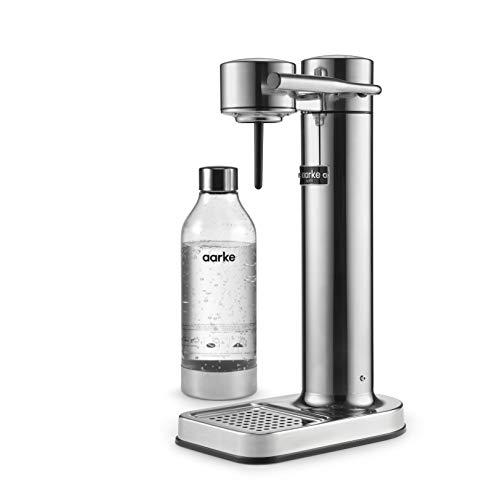 Aarke Carbonator II Wassersprudler (Edelstahl Gehäuse, Soda Sprudelwasser, inkl. BPA-freie PET-Flasche , kompatibel mit CO2 Sodastream Zylindern) Silber