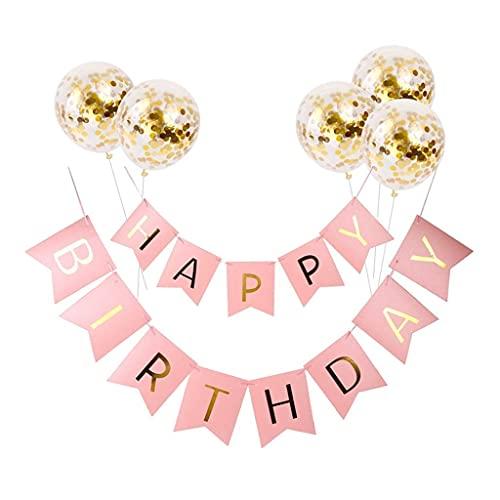 Meowoo Banner Happy Birthday Girlande mit 5 Goldenen Latexballons, Geburtstag Deko Zubehör Party Dekoration Banner & Ballon Set Geeignet für alle Altersgruppen, Jungen & Mädchen