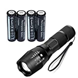 LED Torch Flashlight Set Included 4x18650 Button top, Mini Torch,5 Light Modes for Camping, Cycling, Running, Dog Walking and More Outdoor