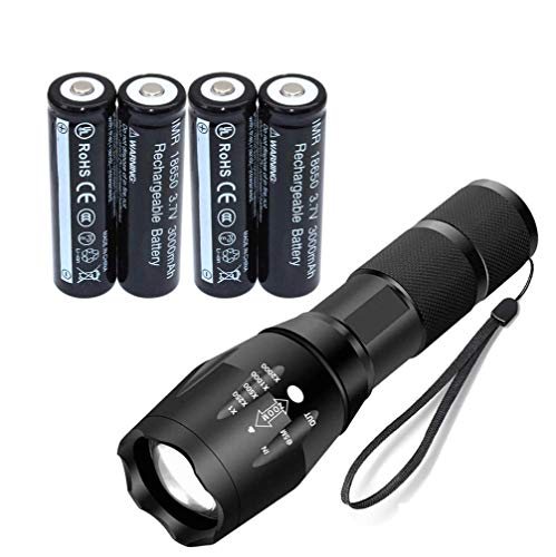 LED Torch Flashlight Set Included 4x18650 Button top, Mini Torch,5 Light Modes for Camping, Cycling, Running, Dog Walking and More Outdoor 002