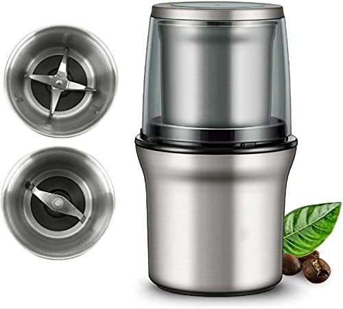 Electric Coffee Grinder and Spice Grinder with 2 Stainless Steel Blades Removable Bowls