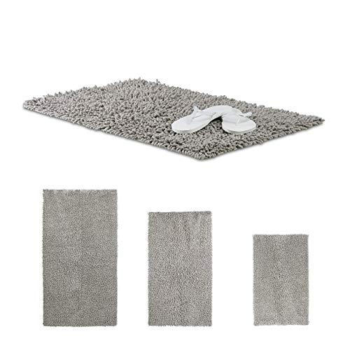 Relaxdays Badematte Shaggy, handgefertigter Hochflor Teppich, rutschfester Badvorleger, Baumwolle, BxT: 80 x 50 cm, grau