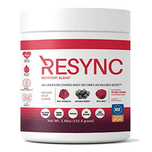 RESYNC Recovery (20 Servings) Clinically Formulated, NSF Sport Certified. Nitric Oxide Booster, Circulation, Inflammatory Support, Recovery Supplement with Antioxidants, Superfoods & More