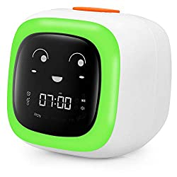 Kids Alarm Clock for Bedroom - Sleep & Wake Clock with Snooze, Nap Timer, 7 Color Night Light, 8 Level Volume, 9 Facial Expressions and 10 Sleep Sounds - Gifts for Boys Girls Teens and Students