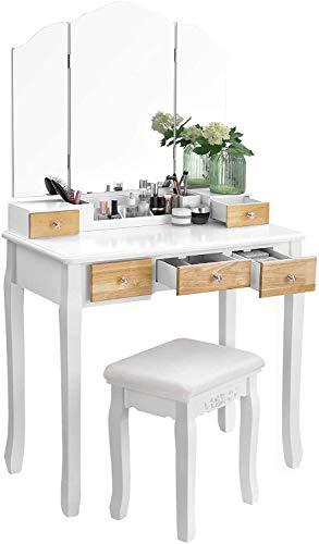 VASAGLE Tocador con Espejo Plegable, Mesa de Maquillaje, con 5 Cajones y 1 Organizador de Almacenamiento Extraíble, Pata de Madera Maciza, con Taburete RDT28K