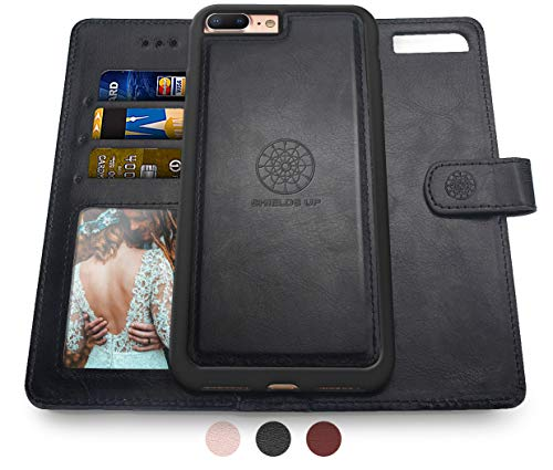 Shields Up iPhone 8 Plus Case/iPhone 7 Plus Case,[Detachable] Magnetic Wallet Case,Durable and Slim,Lightweight with Card/Cash Slots,[Vegan Leather] Cover for Apple iPhone 8 Plus/7 Plus -Black