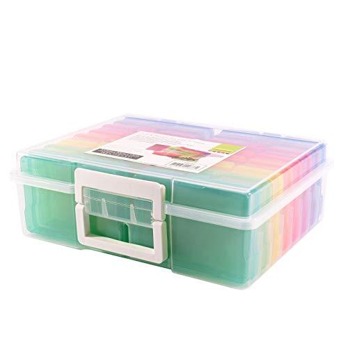 Vaessen Creative Aufbewahrungsbox mit Deckel, Tragegriffen und 16 Kleinen Bunten Dosen, Kunststoff Sortierbox zum Verstauen von Bastelzubehör, Fotos und Weiteren Utensilien, 37,50 x 30 x 13 cm