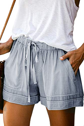 Mosucoirl Mujeres Cordón Casual Pantalones Cortos de Cintura elástica Pantalones Cortos de Color Puro Pantalones cómodos Pantalones Cortos de Verano Ligeros con Bolsillos (Azul Claro, XXL)