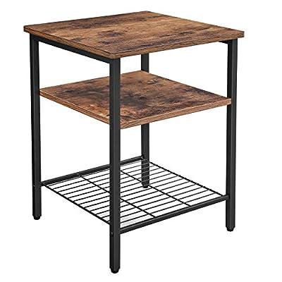 VASAGLE ALINRU End Table, Side Table, Nightstand with 3 Shelves, Bedside Table, Bedroom, Living Room, Simple Assembly, Mesh Shelf, Metal, Industrial Design, Rustic Brown ULET47BX