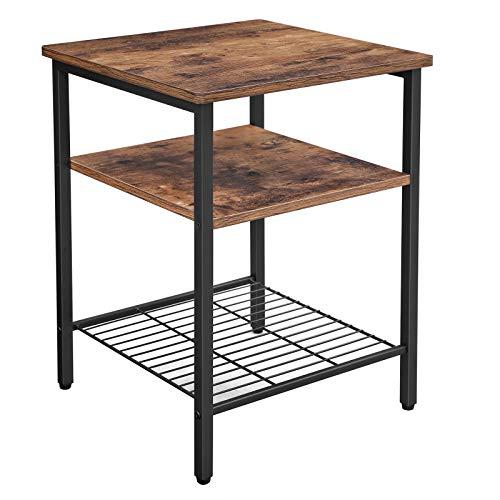 VASAGLE Nachttisch, Beistelltisch mit 3 Ablagen, Nachtschrank, Schlafzimmer, Wohnzimmer, einfacher Aufbau, Gitter, Metall, Industrie-Design, Vintage, Dunkelbraun LET47BX