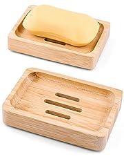 Mutsitaz 2 Pcs Jabonera Jabonera de Madera - Natural bambú Bandeja de jabón para La Cocina Ducha de baño Fregadero - para Jabón, Esponjas y Más