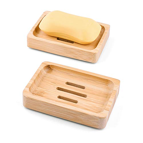 Mutsitaz 2 Stück Natürliche hölzerne Bambus Seifenschale Holz , Bambus Seifenhalter Dusche Handgefertigte Seifenkiste Seifen Box Für Seife Scrubber Schwämme Bad Waschbeckenablage
