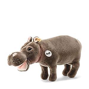 Steiff 63794 National Geographic Hedda - Peluche de hipopótamo, Aprox. 43 cm, Color marrón grisáceo