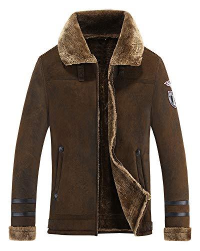 Mens Sherpa Wool Coat Lamb Velvet Fur Jacket Men Suede Parka in Autumn Winter (Hard Retro, M)